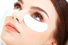 Cosmetic Treatment. Woman Eye with Long Eyelashes. Eyelash Extension
