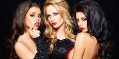Three beautiful women after botox injections and lip fillers